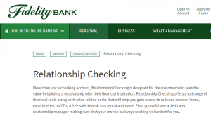 Fidelity Bank Relationship Checking